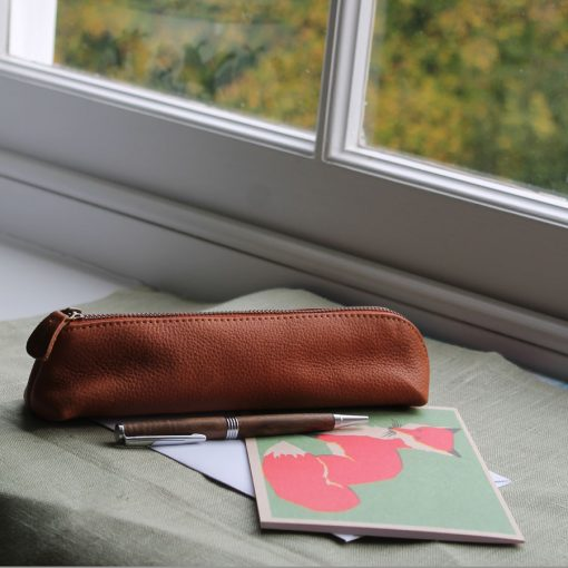 Tan Leather Pencil Case