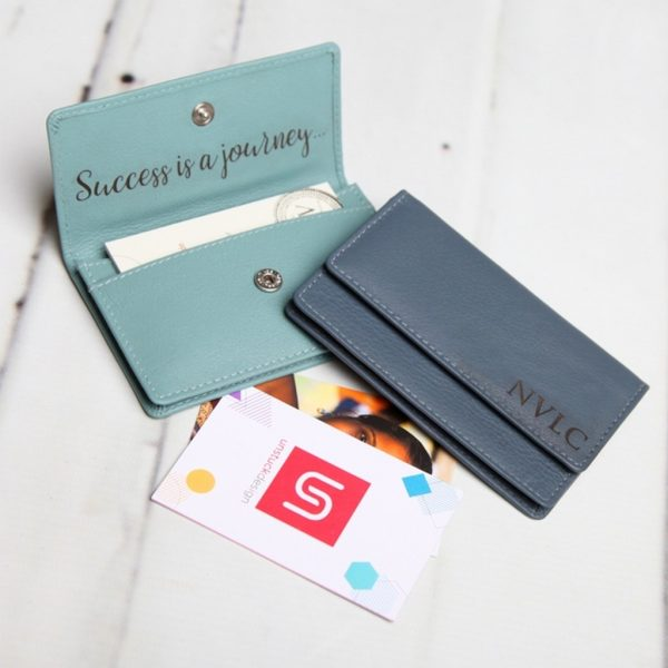 Large Personalised Leather Card Holder