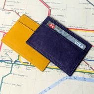 Leather card holder purple & mustard