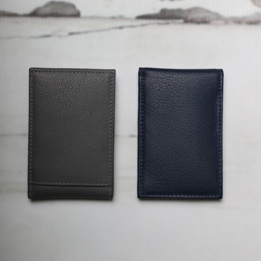 Alex mini leather wallet in Dark Blue and Grey