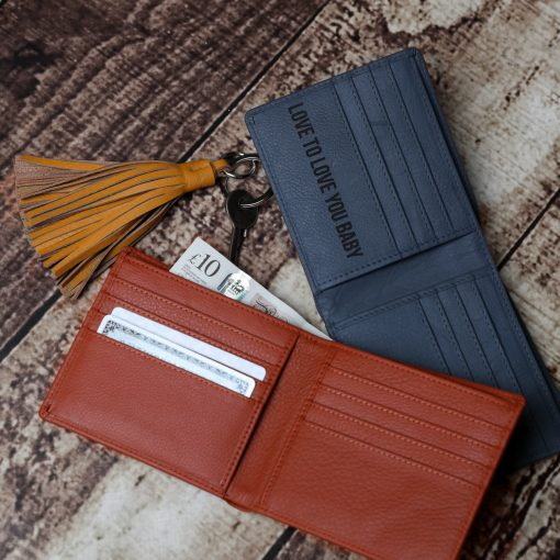 James Classic Wallet Grey & Tan Leather