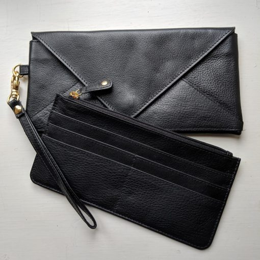Leather Love Letter Purse Black
