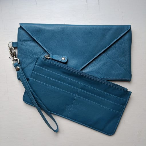 Leather Love Letter Purse Teal