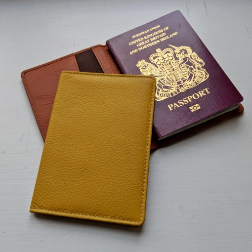 Jules Yellow Leather Passport Cover