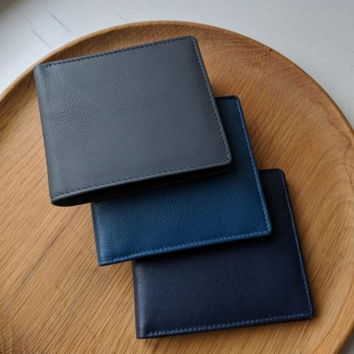 James Classic Leather Wallet in Blues and Grey