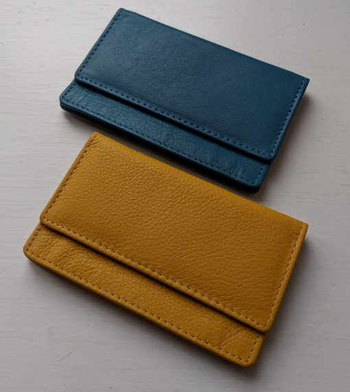 Theo Lather Card Holder Teal Blue & Mustard