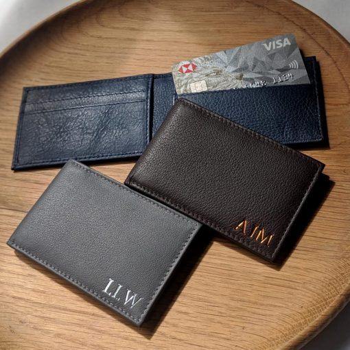 Mini Wallet Grey Leather