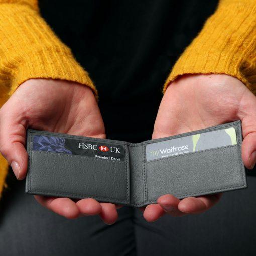 Mini Wallet Grey Leather