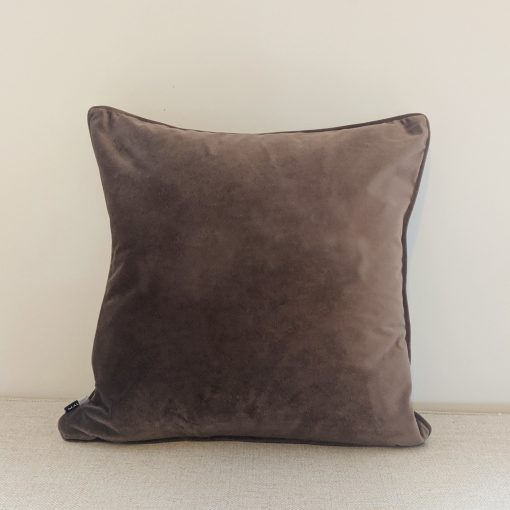 Truffle velvet cushion with no personalisation